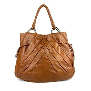 ELLIOT LUCCA Pleated Camel Brown Leather Hobo Bag
